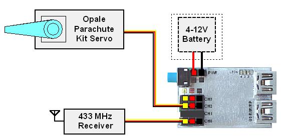 Parachute remote 433 schema